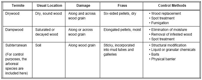 Tabel Jenis Rayap
